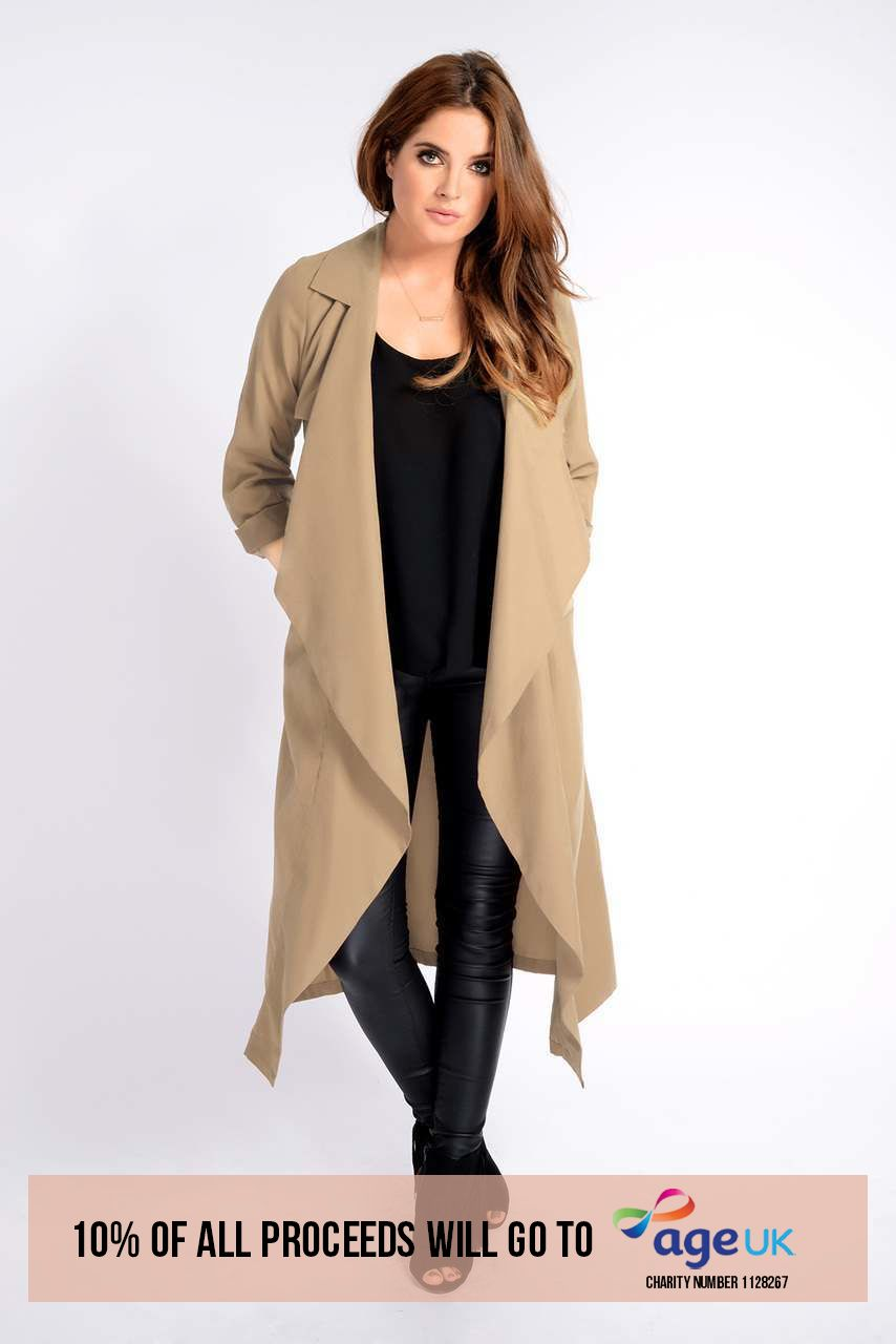 Binky Waterfall Trench Coat (Stone)