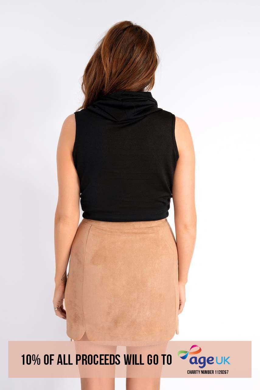 Binky Tan Faux Suede Lace Up Side Skirt