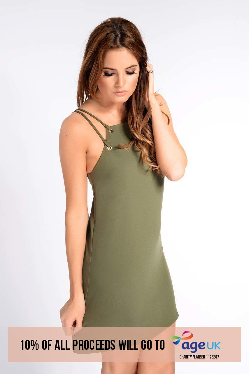 Binky Eyelet Dress Khaki