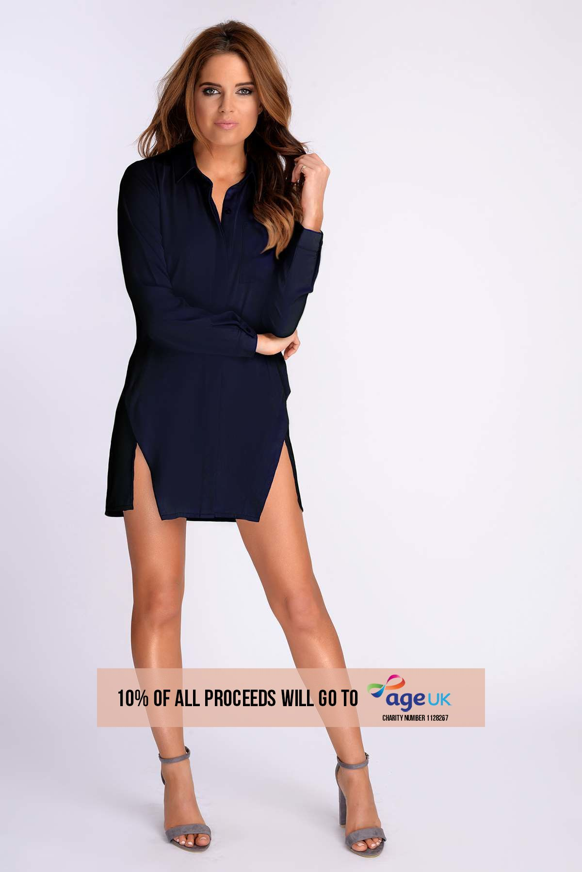 BINKY NAVY SPLIT FRONT SHIRT DRESS