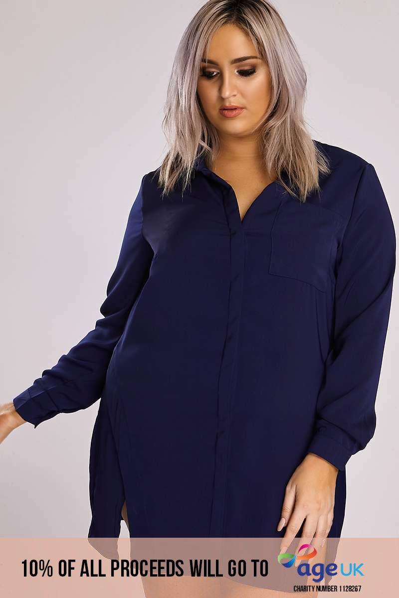 Curve Binky Navy Split Front Shirt Dress