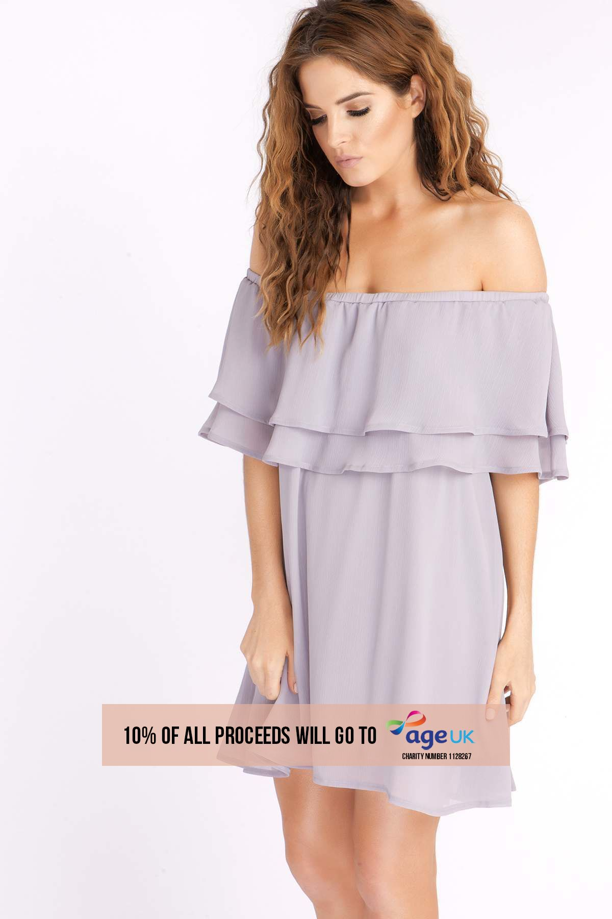BINKY GREY BARDOT FRILL DRESS