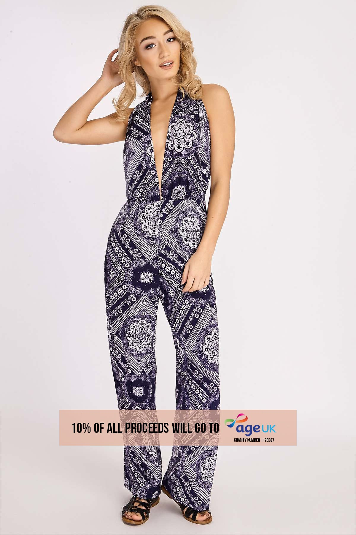 BINKY BLUE & WHITE TILE PRINT JUMPSUIT