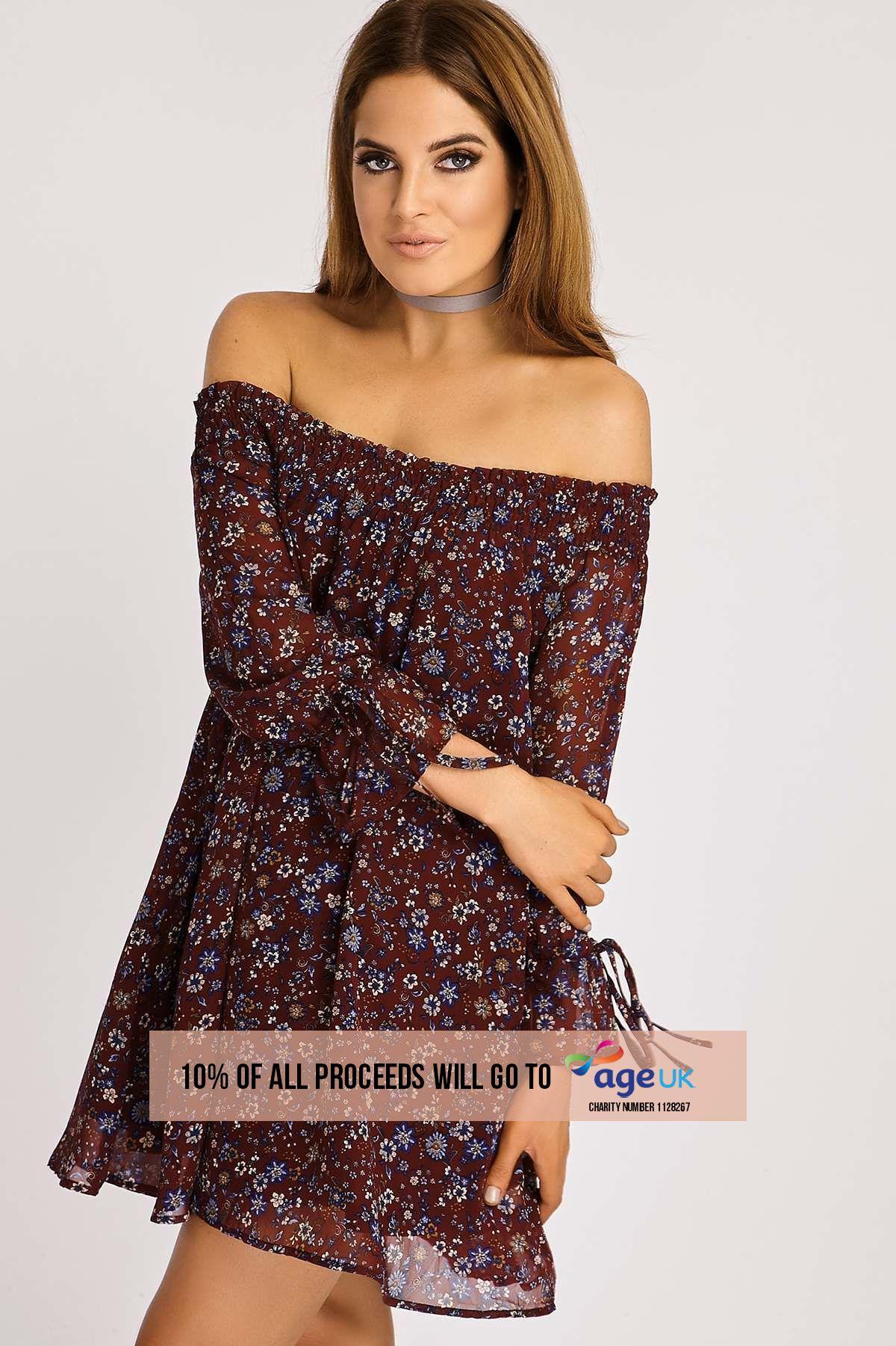 Binky Floral Bardot Swing Dress