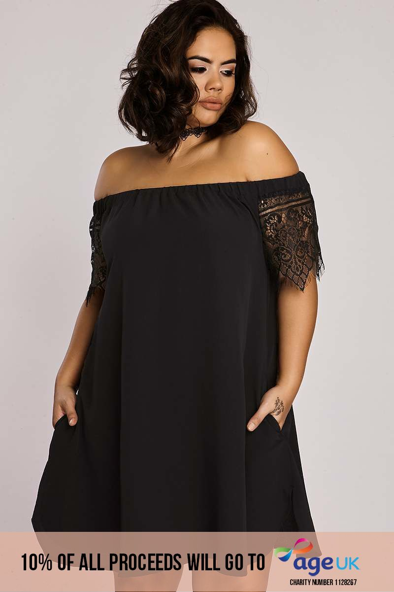 Curve Binky Black Lace Sleeve Bardot Swing Dress