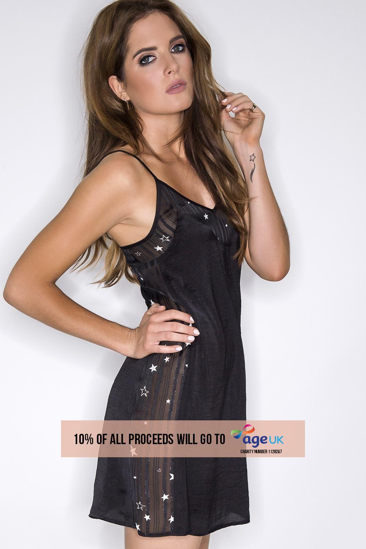 Binky Black Satin Sheer Star Panel Slip Dress