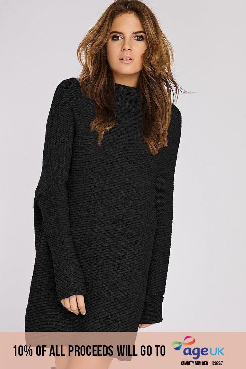 Binky Black Slouch Jumper Dress