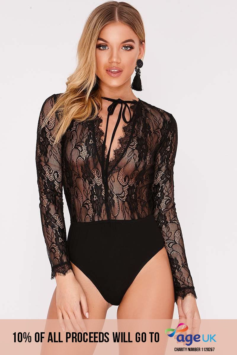 black plunge neck lace bodysuit