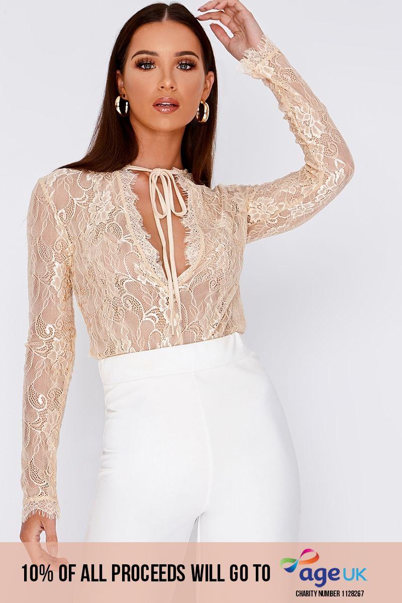 cream plunge neck lace bodysuit