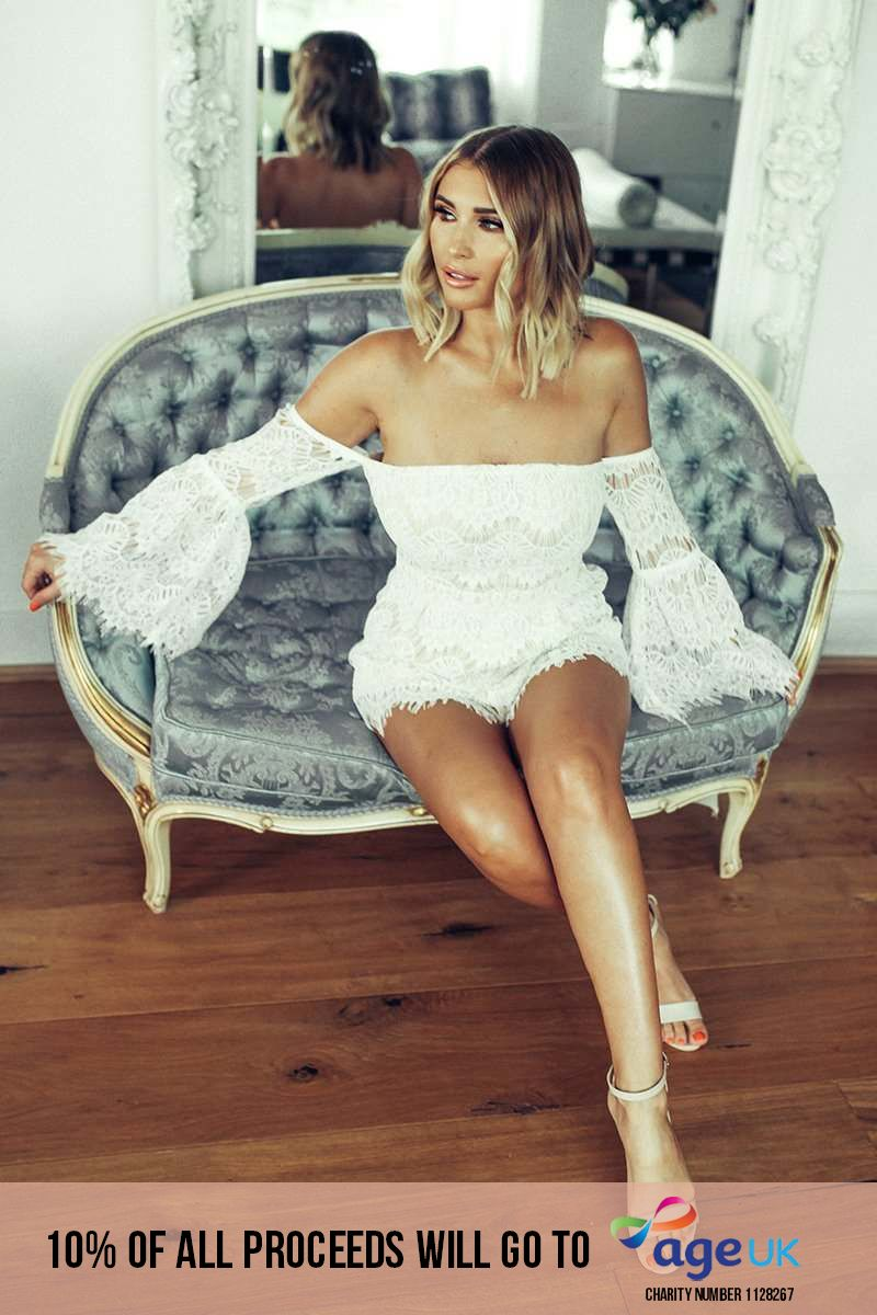 BILLIE FAIERS WHITE LACE FLARED SLEEVE BANDEAU PLAYSUIT
