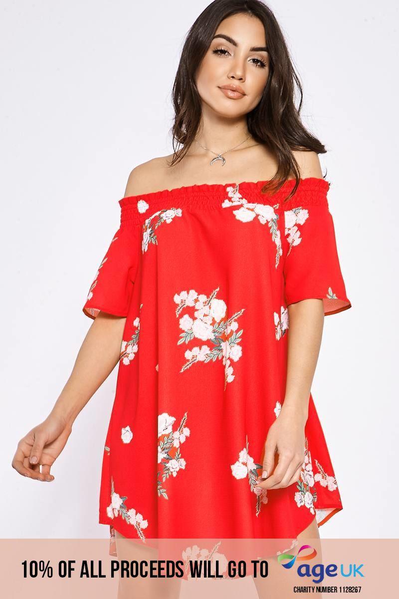 BINKY RED FLORAL BARDOT SWING DRESS