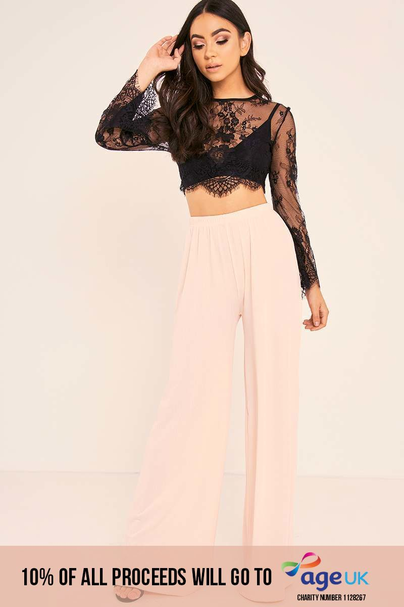 BINKY BLUSH HIGH WAISTED PALAZZO TROUSERS