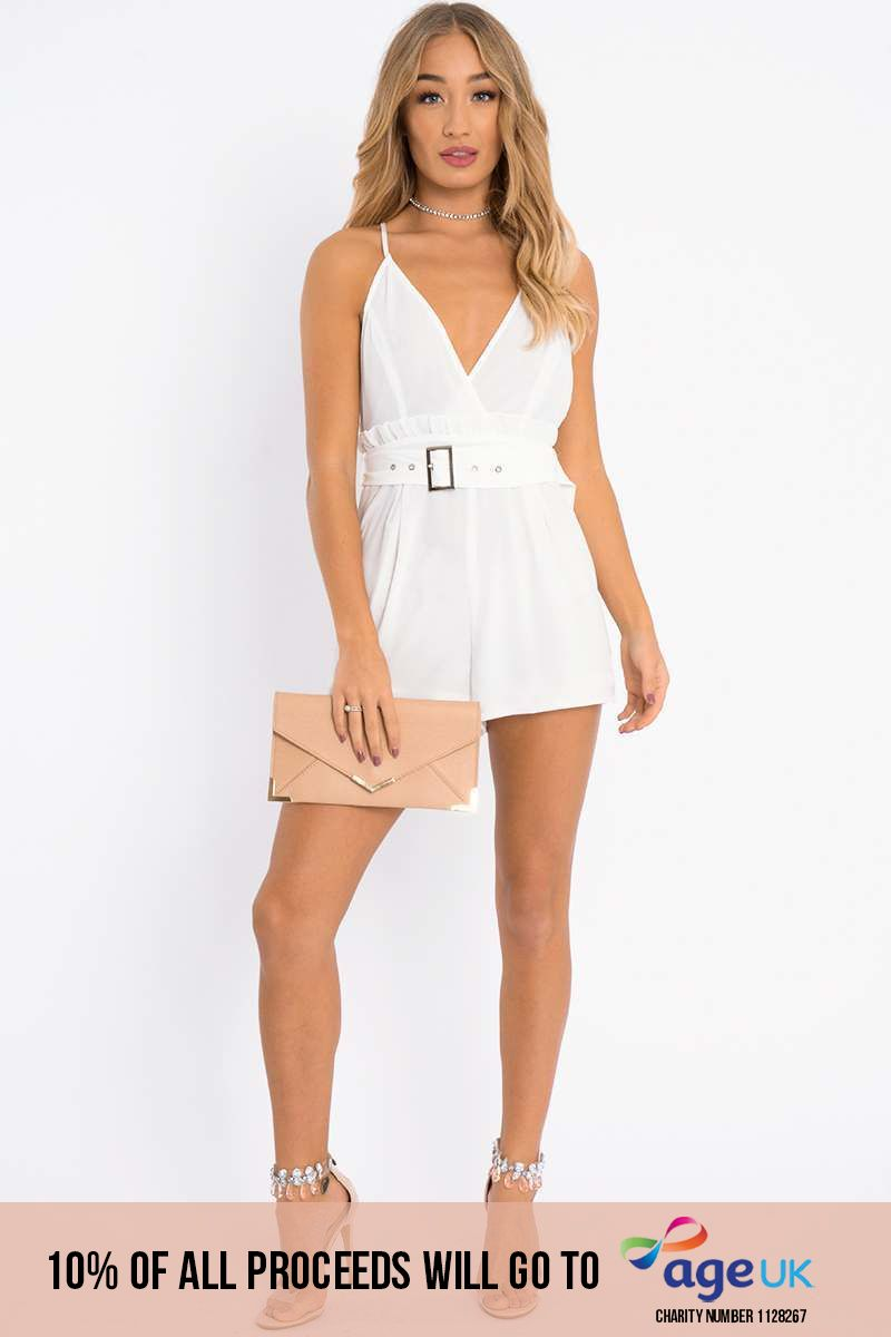 FFION WHITE WRAP FRONT BELTED PLAYSUIT