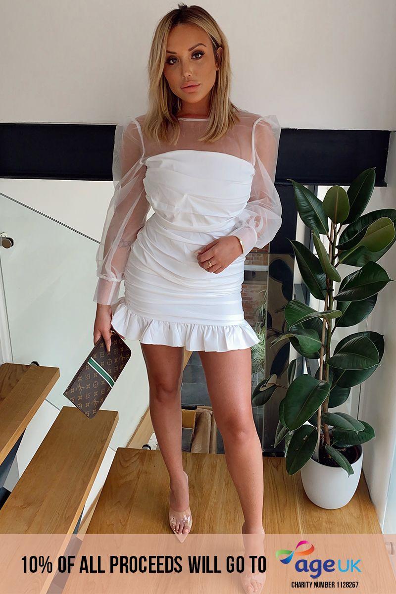 CHARLOTTE CROSBY WHITE ORGANZA BALLOON SLEEVE MINI DRESS