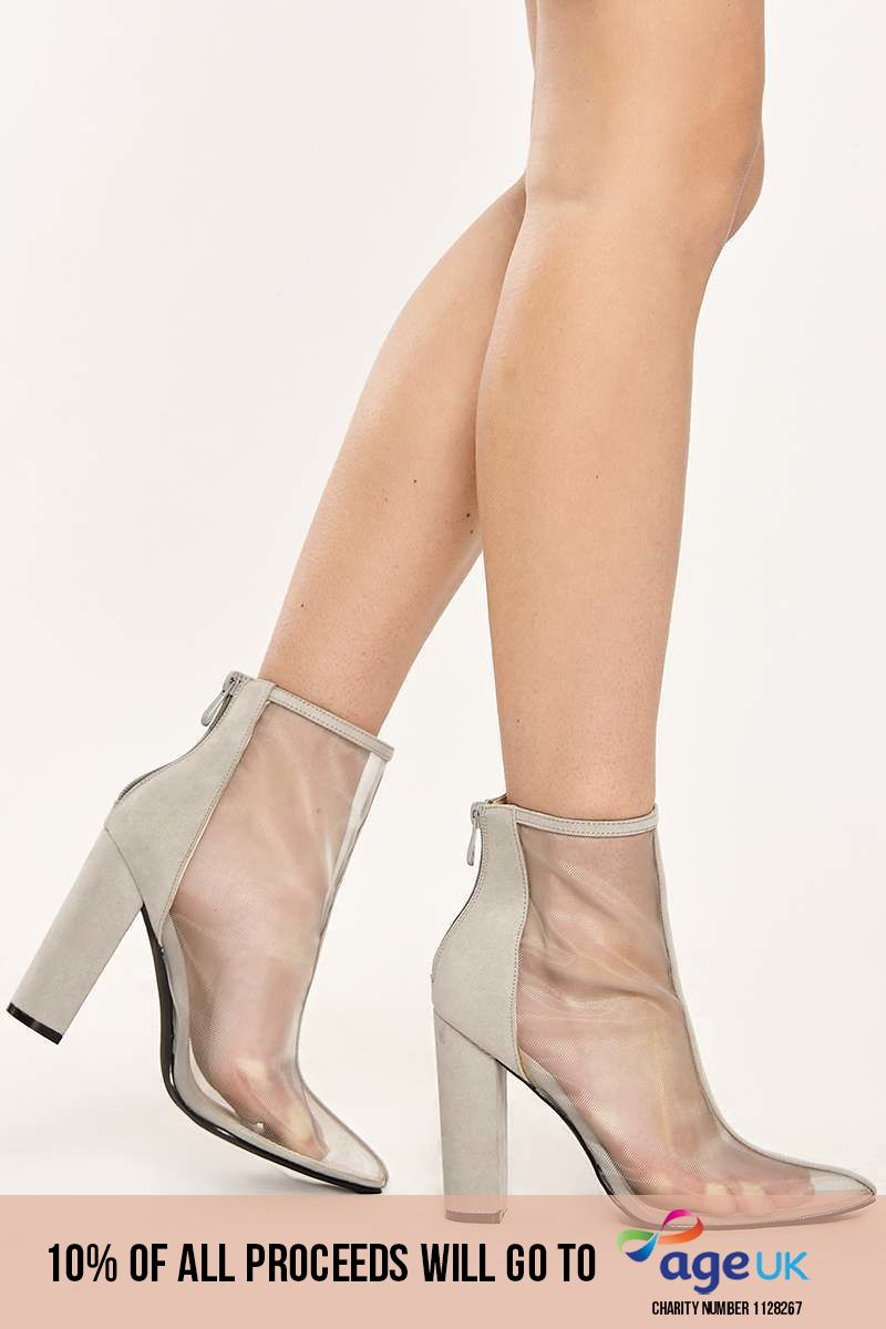 grey mesh front faux suede heeled ankle boots