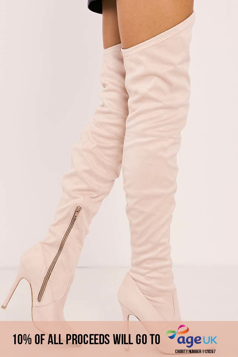 cream faux suede over the knee heeled boots