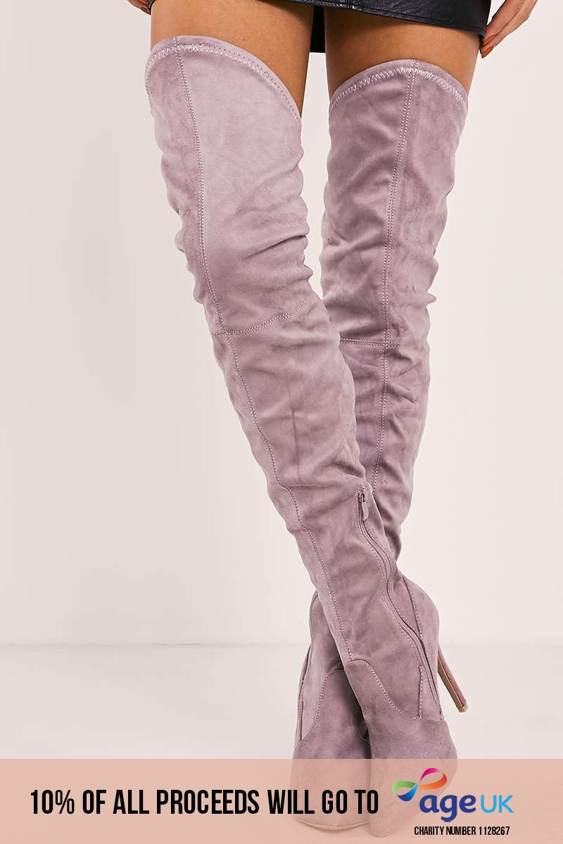 mauve faux suede over the knee heeled boots