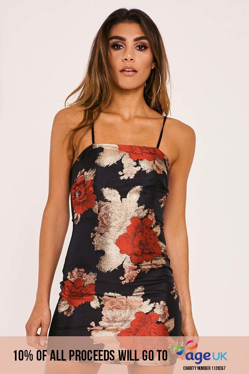 CALAH BLACK FLORAL BROCADE MINI DRESS