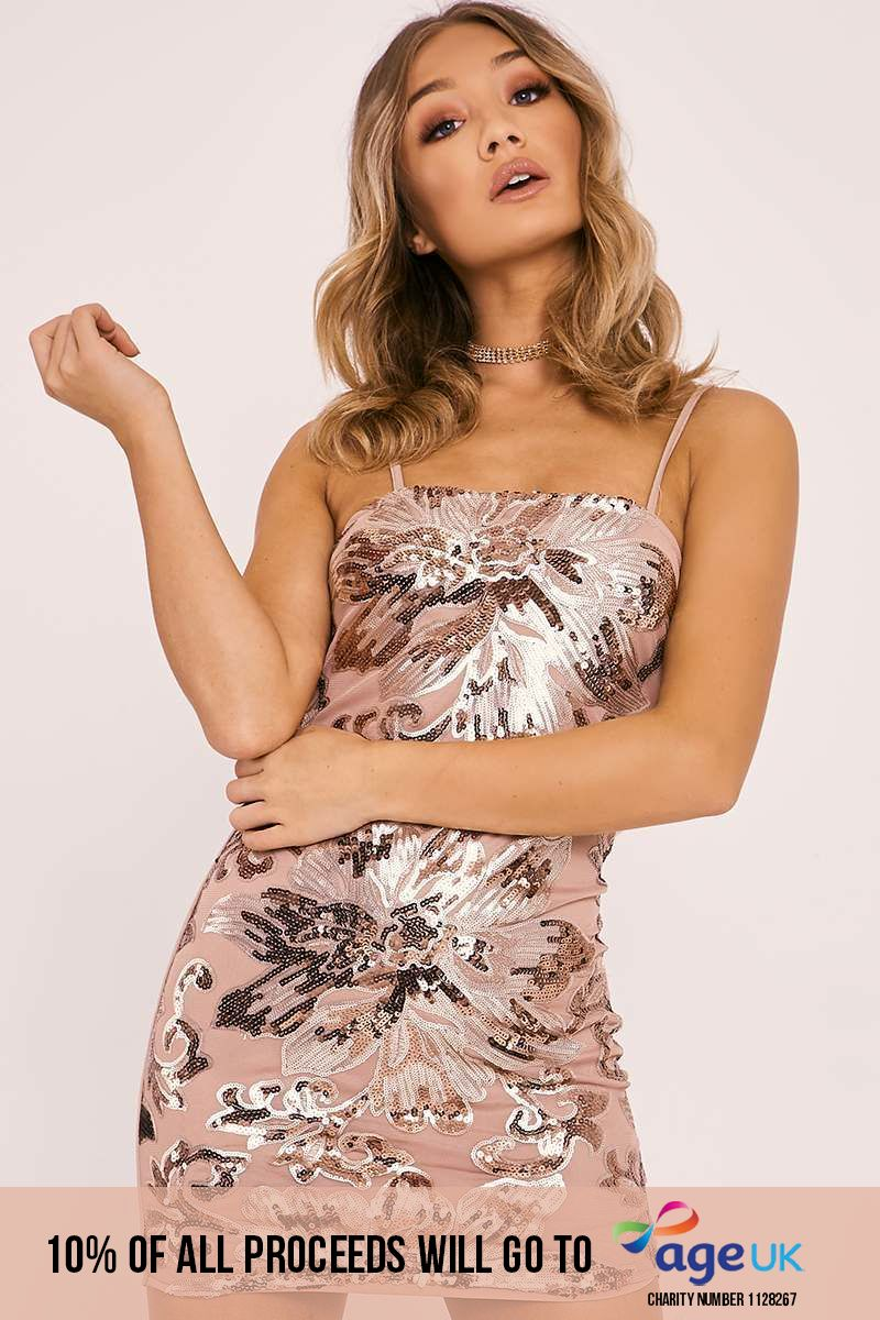rose gold floral sequin bodycon dress