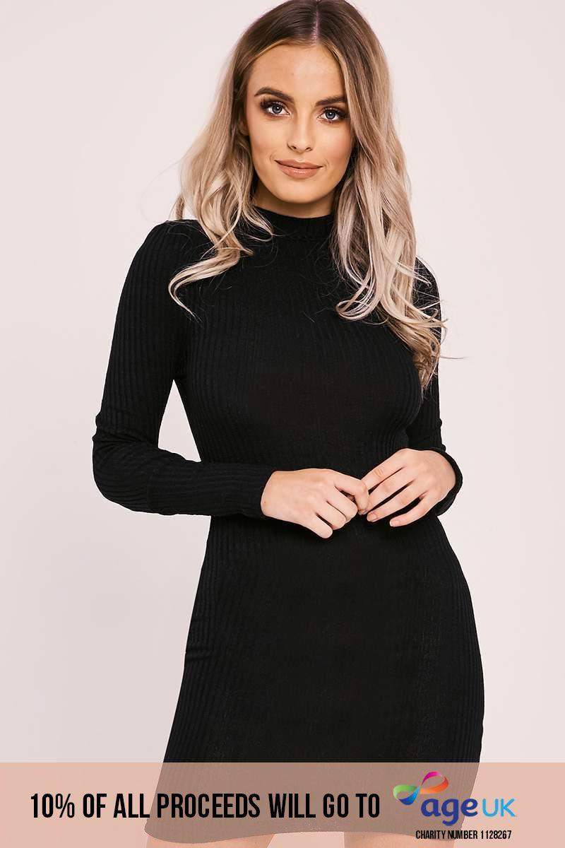 black rib knit high neck bodycon dress