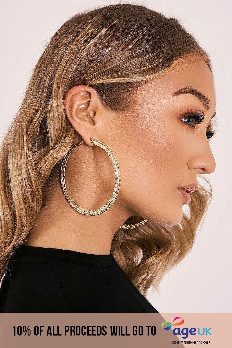 GOLD THREE ROW HOOP EARRINGS