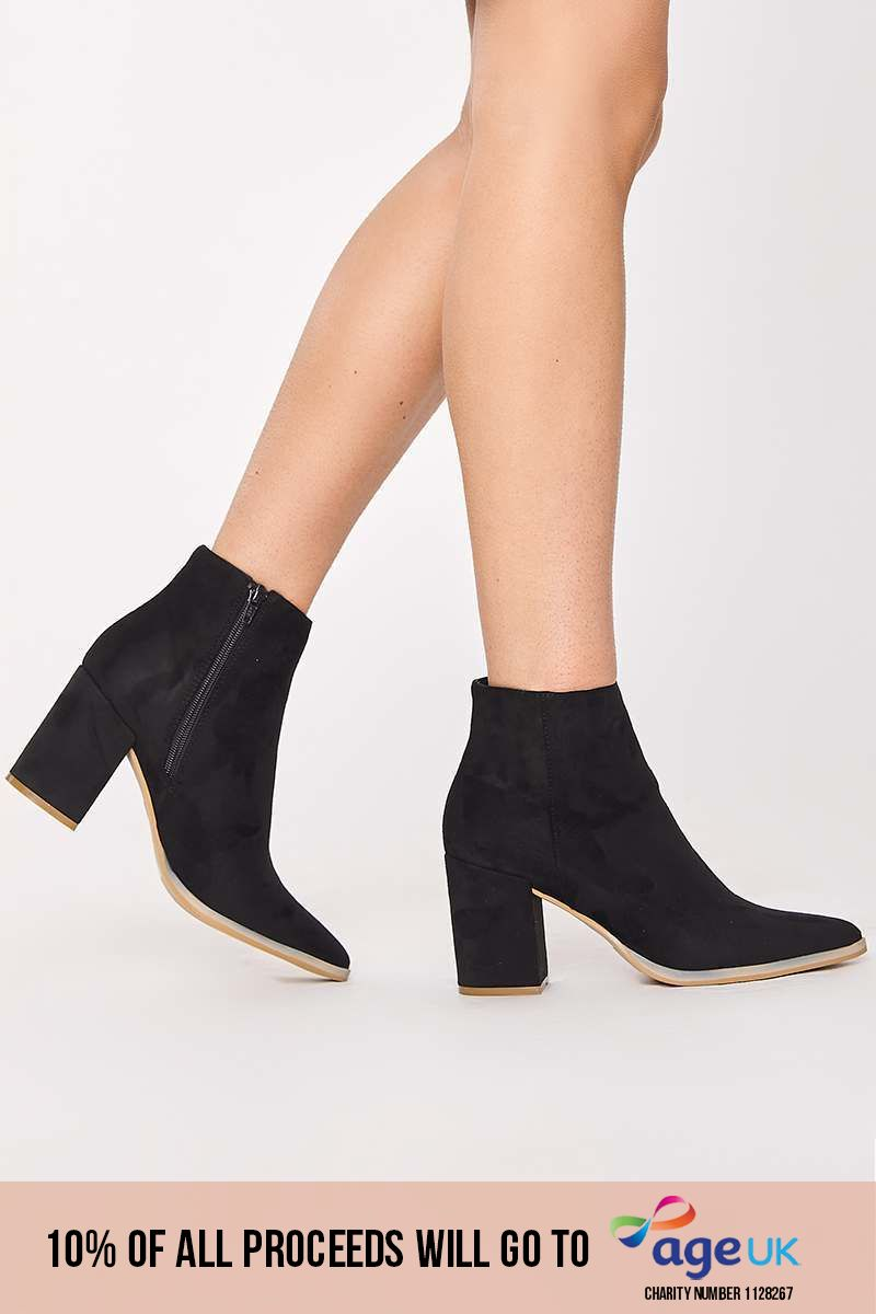 black faux suede block heel ankle boots