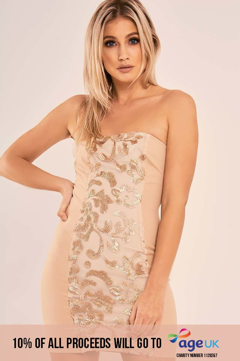 CLAUDINA NUDE FLORAL SEQUIN PANEL BANDEAU DRESS