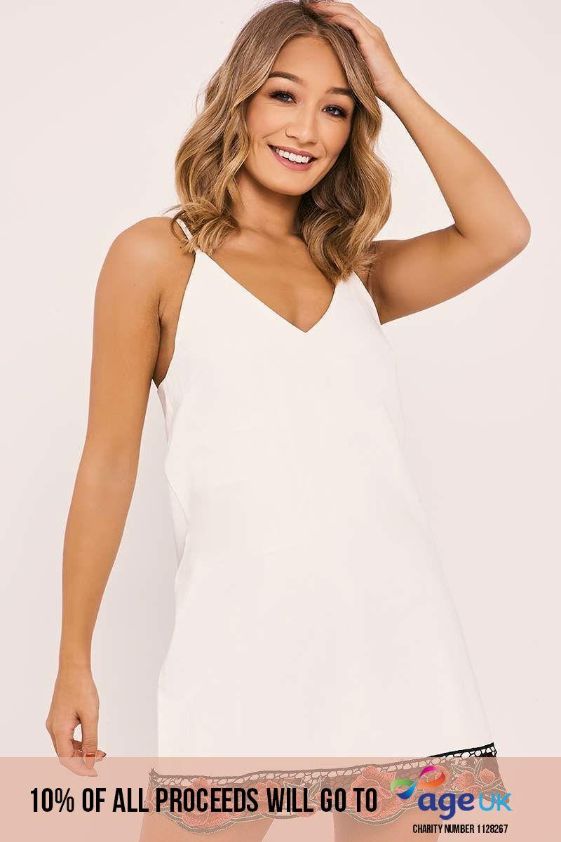 white faux leather applique trim dress