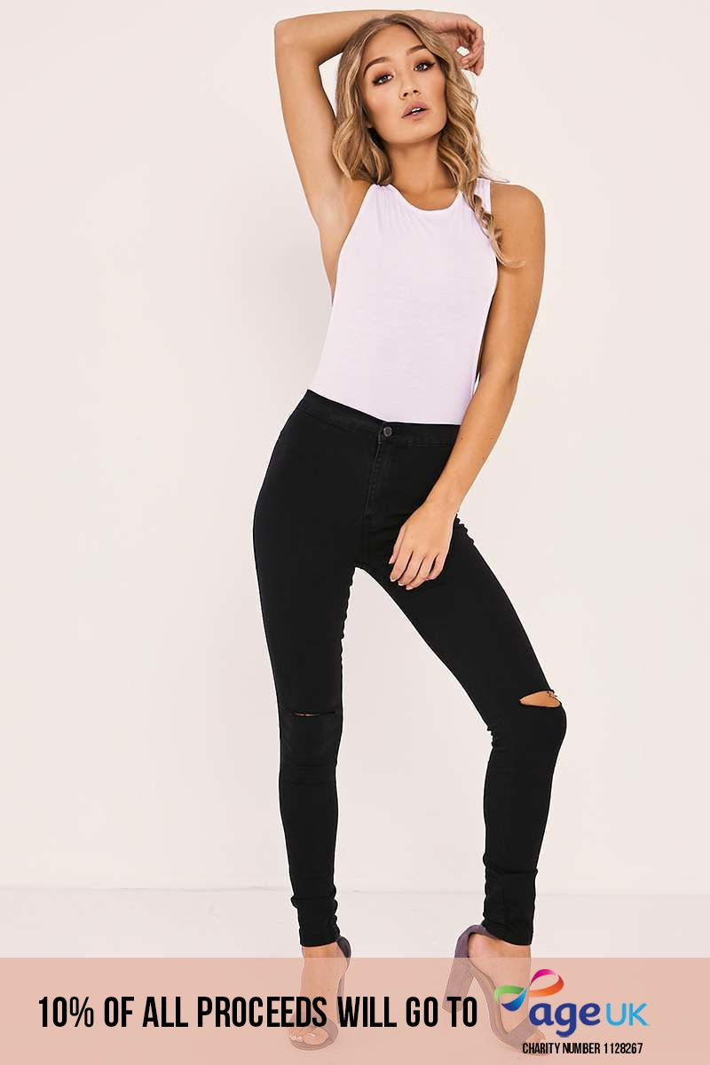black high waisted ripped knee skinny jeans