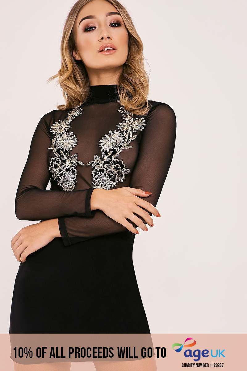 black floral applique mesh top bodycon dress
