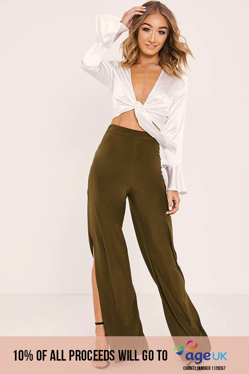 khaki side split slinky trousers
