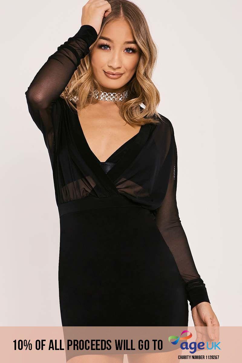 black mesh plunge long sleeved dress