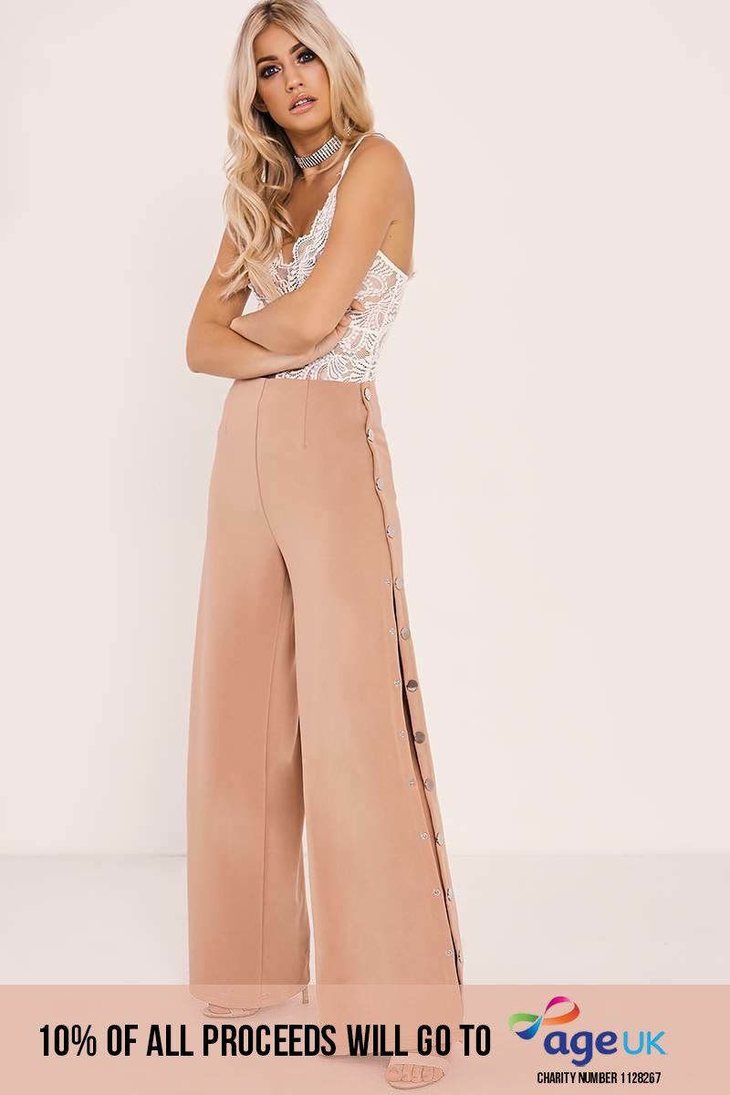 nude popper detail trousers