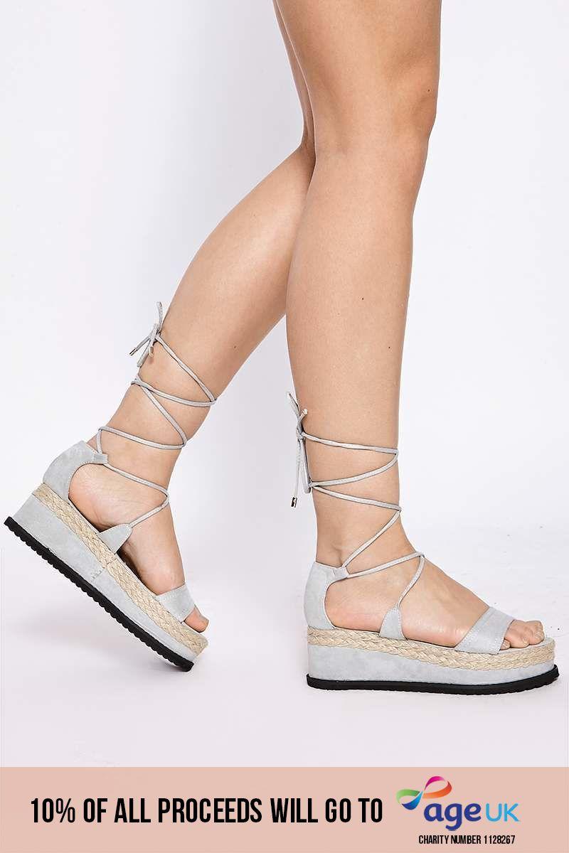 grey faux suede ankle tie platform espadrilles