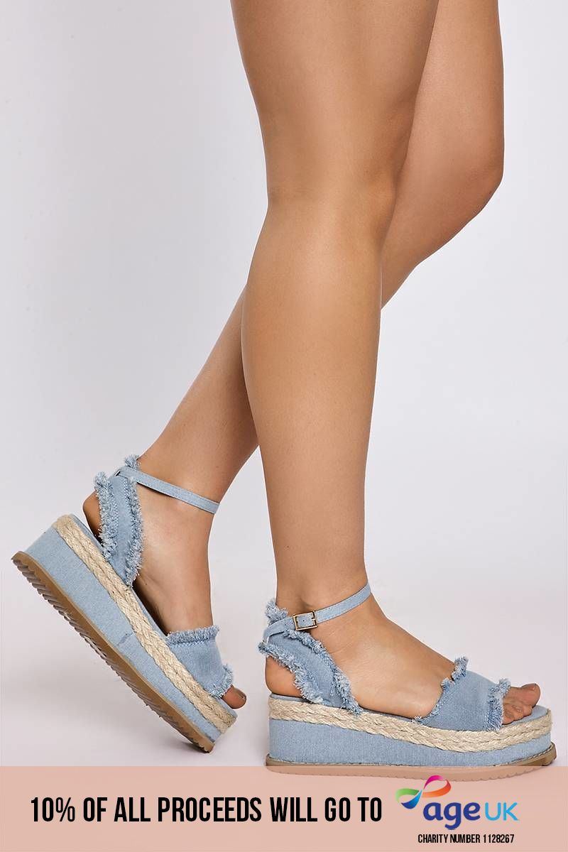 KELINE LIGHT WASH FRAYED DENIM PLATFORM ESPADRILLES