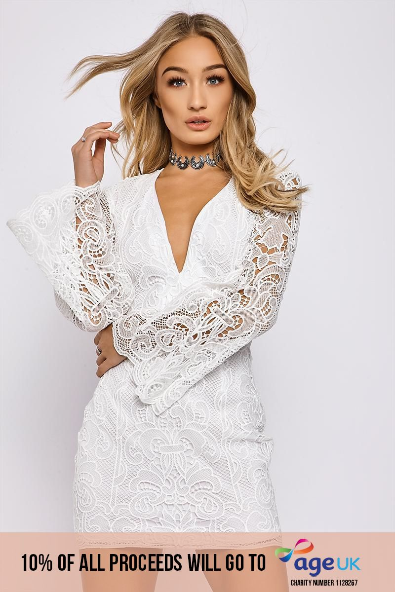 BRANDIE WHITE PLUNGE NECK CROCHET LACE DRESS
