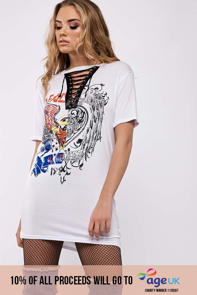 HEART AND EAGLE SPLICED WHITE LACE UP T SHIRT DRESS