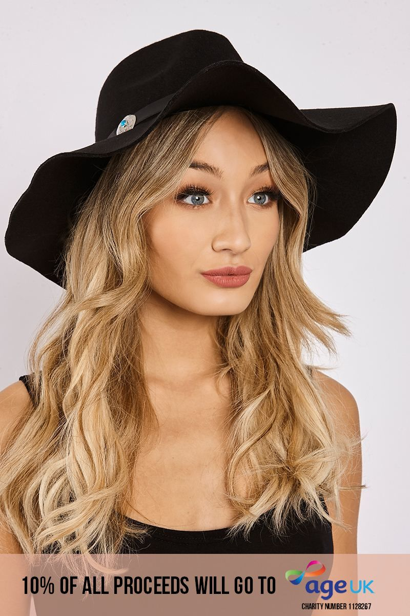 BLACK CONCHO TRIM FEDORA