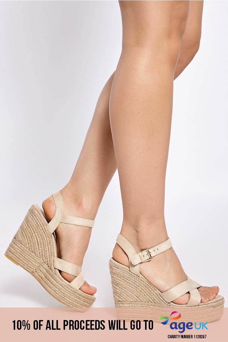 BRADY CREAM FAUX SUEDE CROSS STRAP WEDGES
