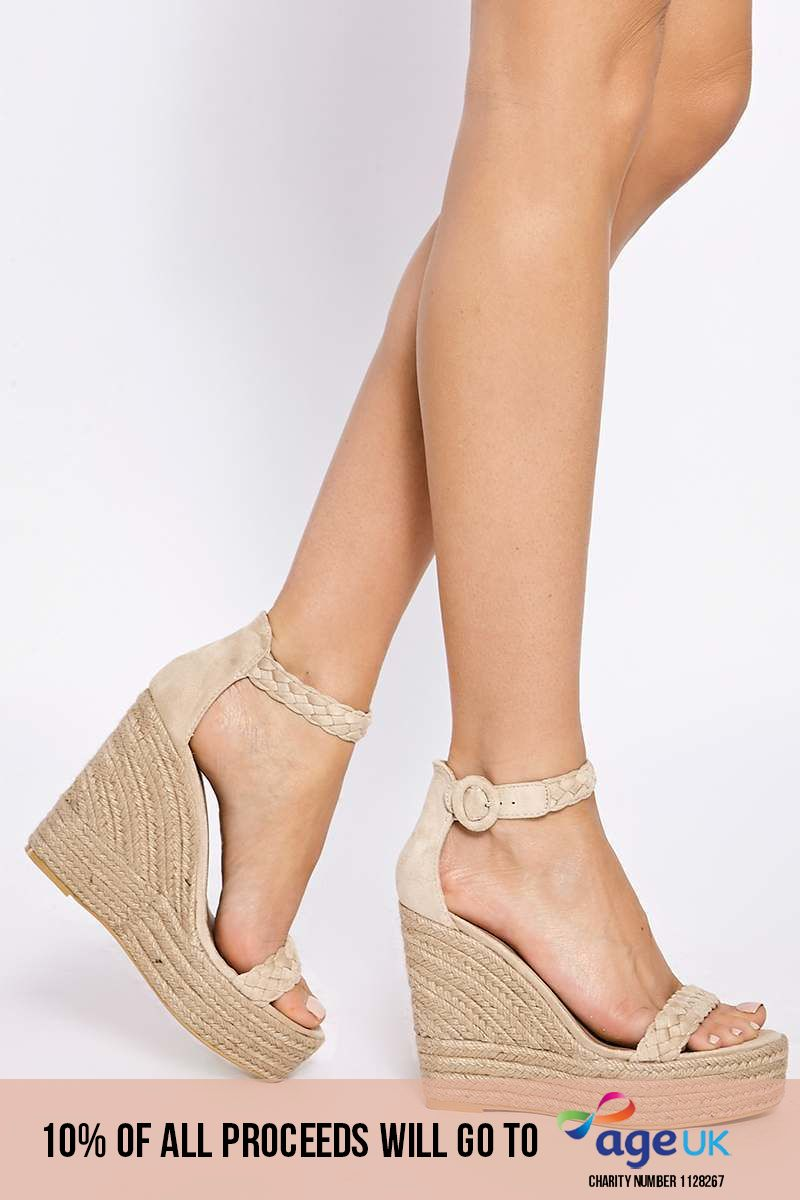 cream plaited ankle suede wedges