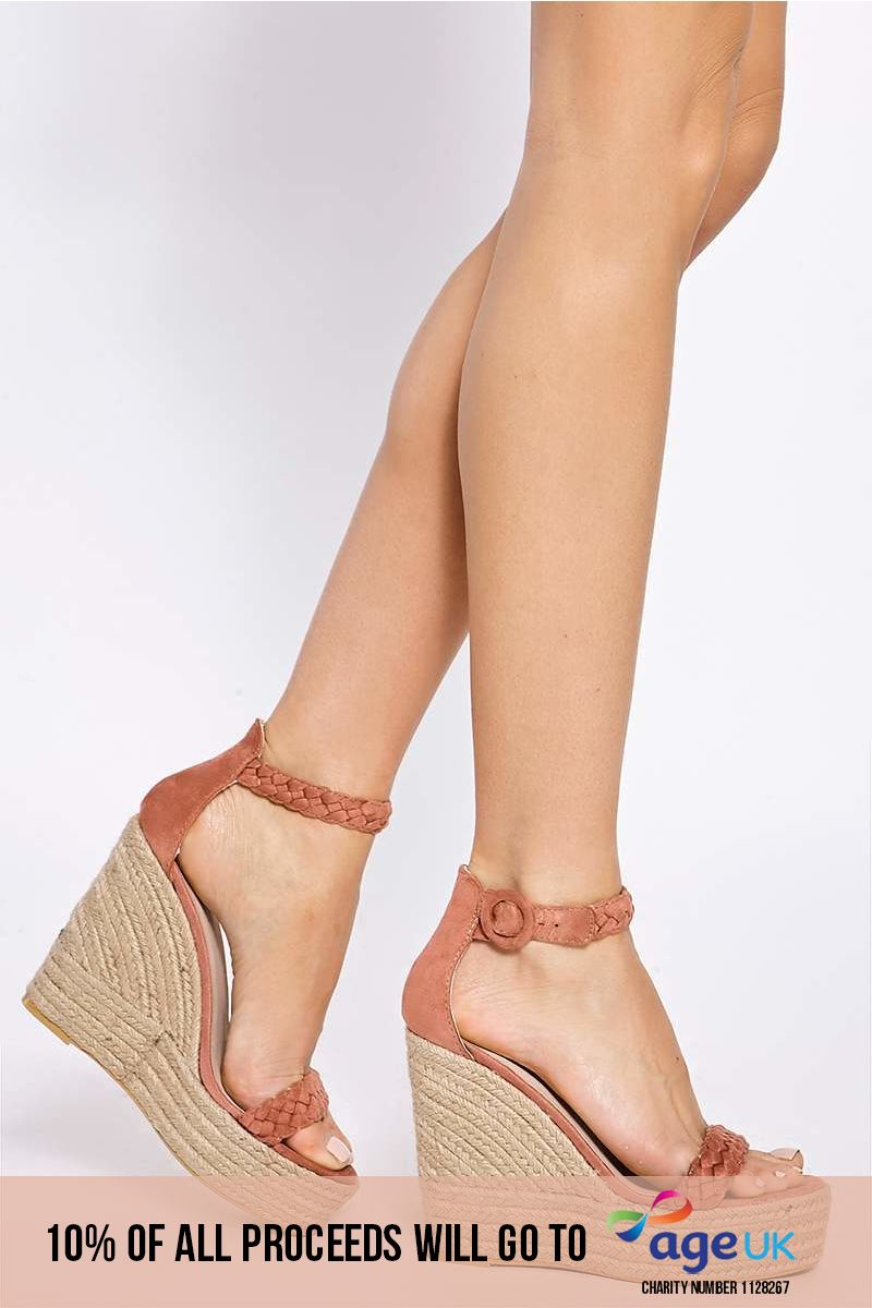 pink plaited ankle suede wedges