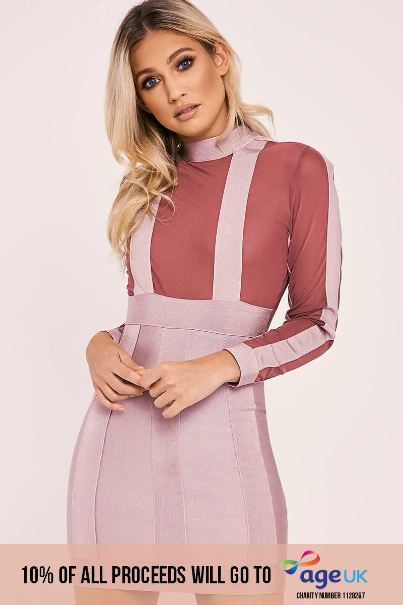 burgundy long sleeve panel bandage bodycon dress