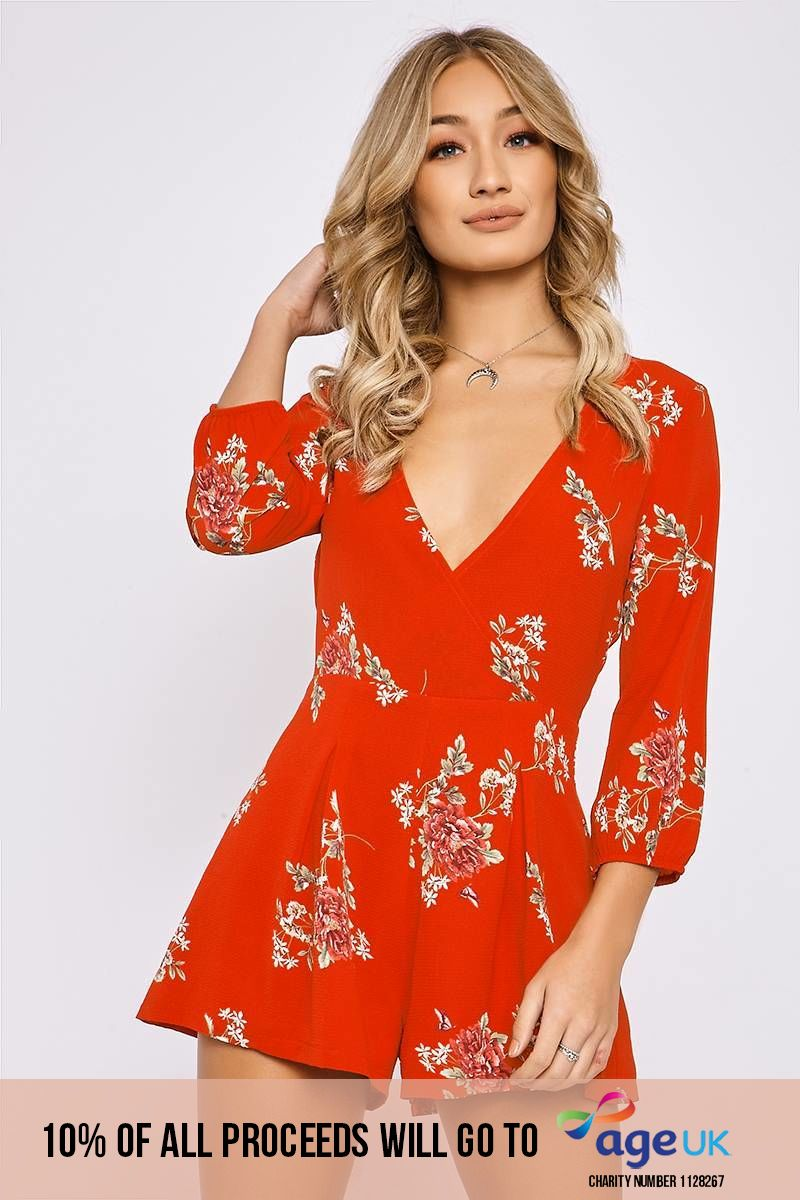 red floral long sleeve wrap playsuit