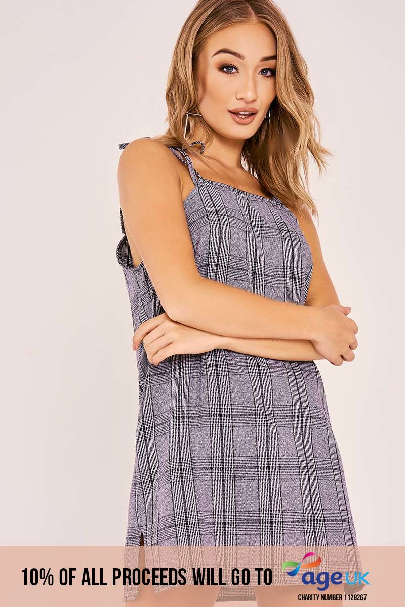 grey check tie strap dress