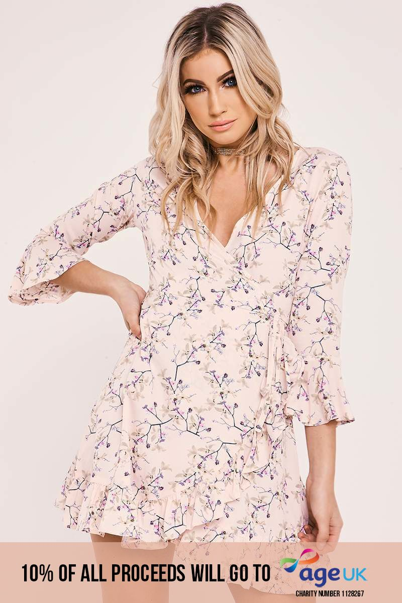 pink floral wrap front frill dress