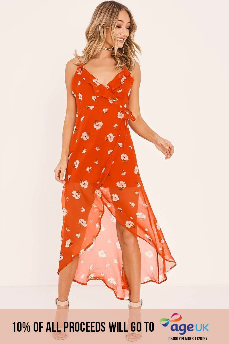 red floral wrap front tie waist maxi dress