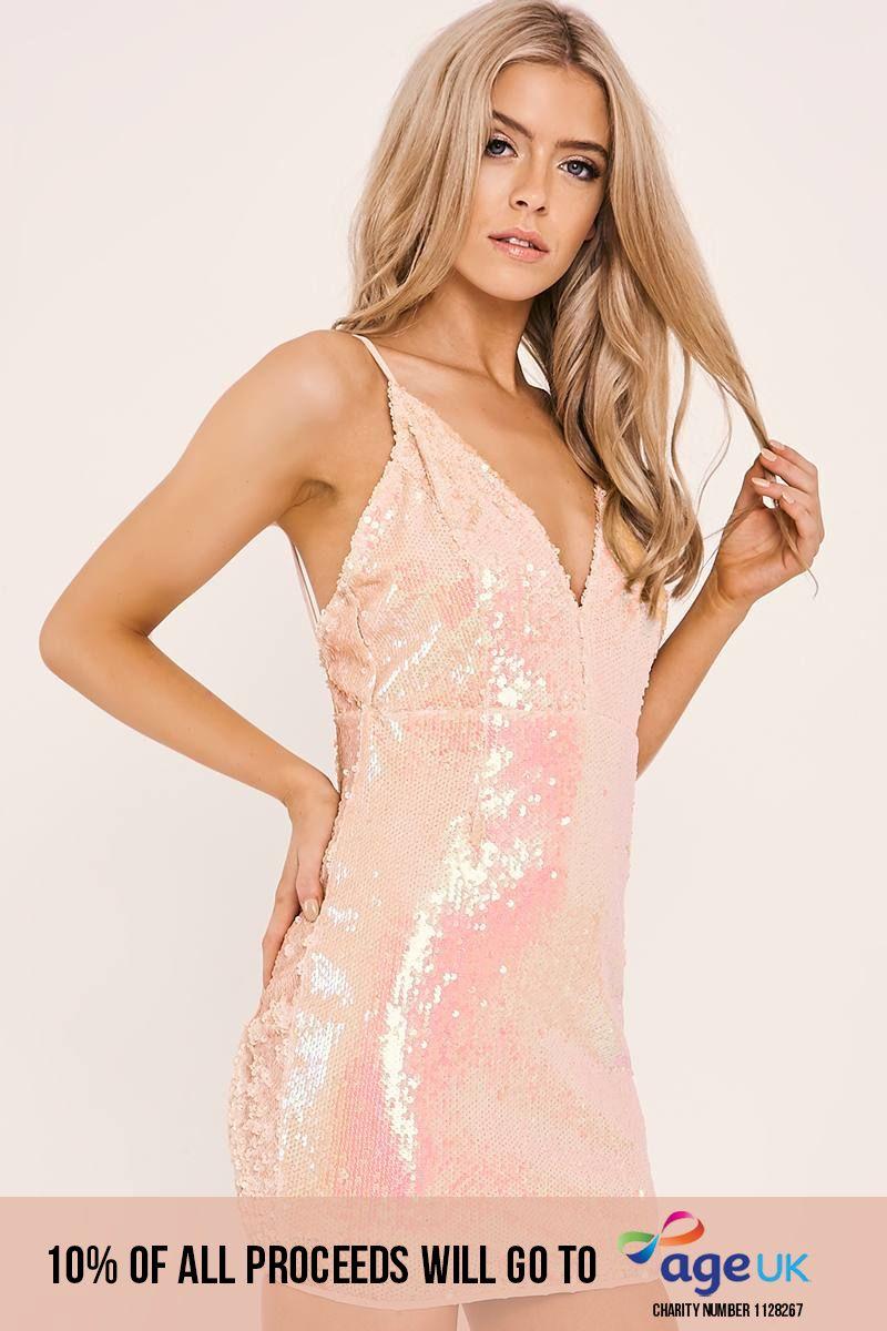 peach iridescent sequin plunge dress