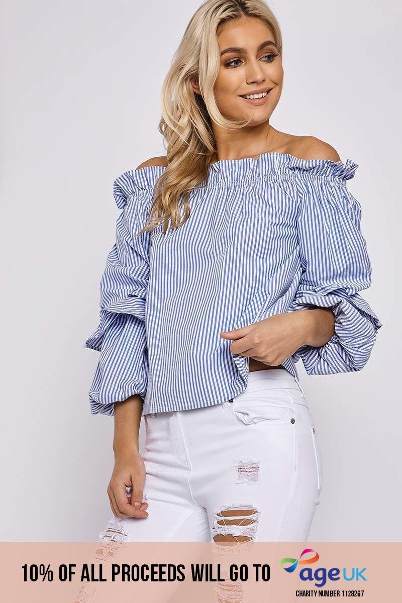 blue striped bardot layered sleeve top