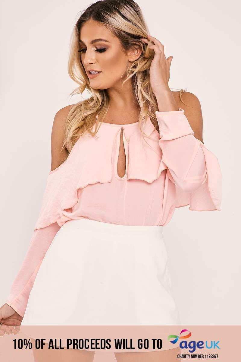 pink silky cold shoulder bodysuit