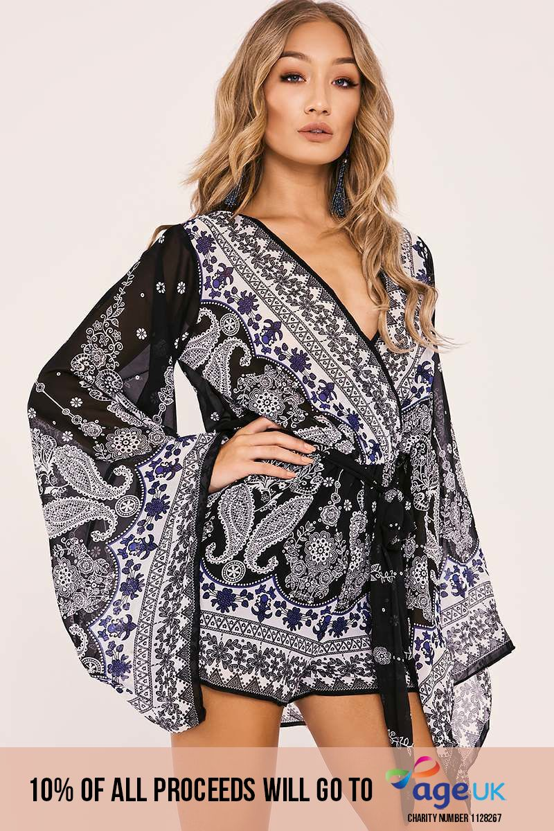 black paisley wrap front flared sleeve playsuit